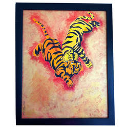 two tigers, 18 x 24 inch, gita  singh,18x24inch,canvas,nature paintings | scenery paintings,animal paintings,paintings for office,paintings for hotel,paintings for office,paintings for hotel,acrylic color,GAL02428435718
