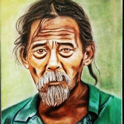 oldman worries, 10 x 14 inch, kiran bhadauria,10x14inch,oil sheet,paintings,figurative paintings,expressionism paintings,paintings for living room,paintings for office,paintings for hospital,pastel color,GAL02426235719