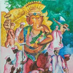 ganesh ji, 12 x 17 inch, aditya  gupta,12x17inch,drawing paper,drawings,natural color,watercolor,GAL02402235722
