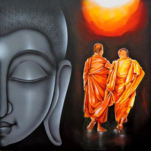divine light, 36 x 36 inch, pradeesh k,buddha paintings,paintings for living room,religious paintings,paintings for office,canvas,acrylic color,36x36inch,religious,peace,meditation,meditating,gautam,goutam,buddha,grey,monk,sun light,GAL013133573