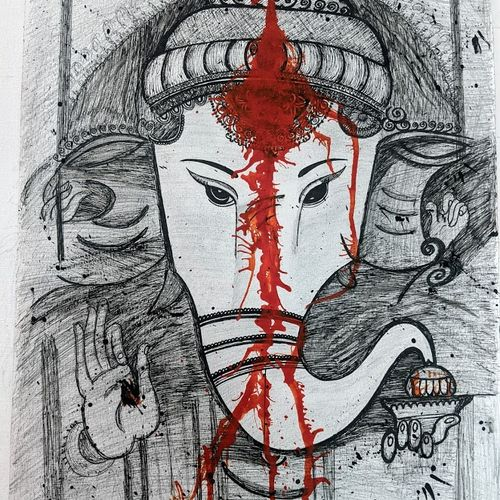 lord ganesha with thrishool thilakam, 15 x 21 inch, meghana reddy,15x21inch,ivory sheet,drawings,paintings for dining room,paintings for living room,paintings for bedroom,paintings for office,paintings for kids room,paintings for hotel,paintings for kitchen,paintings for school,paintings for hospital,abstract drawings,art deco drawings,ganesha drawings,paintings for dining room,paintings for living room,paintings for bedroom,paintings for office,paintings for kids room,paintings for hotel,paintings for kitchen,paintings for school,paintings for hospital,acrylic color,ink color,pen color,pencil color,graphite pencil,paper,GAL02349535732
