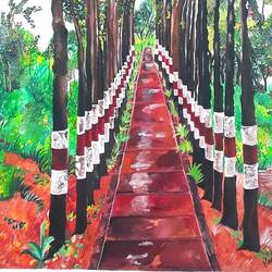 beautiful pathway in the middle of the forest , 14 x 15 inch, rachita bhaumik ,14x15inch,canvas,paintings,wildlife paintings,landscape paintings,nature paintings | scenery paintings,paintings for dining room,paintings for living room,paintings for office,paintings for hotel,acrylic color,GAL02099635734