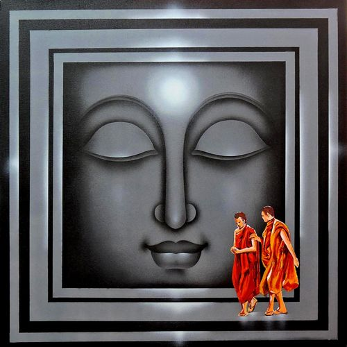 divine light-1, 36 x 36 inch, pradeesh k,buddha paintings,paintings for living room,religious paintings,paintings for office,canvas,acrylic color,36x36inch,religious,peace,meditation,meditating,gautam,goutam,buddha,lord,grey,monks,face,GAL013133574