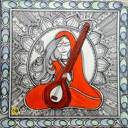 meera, 12 x 12 inch, akanksha sinha,12x12inch,paper,paintings,folk art paintings,religious paintings,radha krishna paintings,madhubani paintings | madhubani art,paintings for dining room,paintings for living room,paintings for office,paintings for bathroom,paintings for hotel,paintings for school,paintings for hospital,pen color,watercolor,GAL01104135745