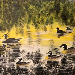the swans at county park , 25 x 18 inch, simi bhatia,25x18inch,canvas,paintings,nature paintings | scenery paintings,paintings for living room,acrylic color,GAL02432735747
