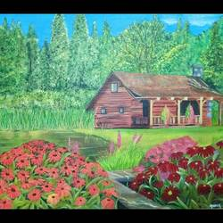 the cabin, 17 x 15 inch, monica bhagwat,17x15inch,canvas,landscape paintings,nature paintings | scenery paintings,acrylic color,GAL02155935751
