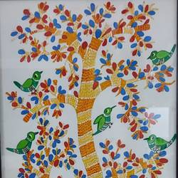 birds on tree, 12 x 24 inch, shubha shrivastava,12x24inch,canvas,folk art paintings,paintings for living room,paintings for office,paintings for hotel,paintings for living room,paintings for office,paintings for hotel,acrylic color,GAL02221335754