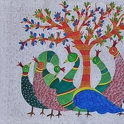 beautiful peacocks, 16 x 20 inch, shubha shrivastava,16x20inch,canvas,folk art paintings,paintings for living room,paintings for bedroom,paintings for office,paintings for hotel,paintings for living room,paintings for bedroom,paintings for office,paintings for hotel,acrylic color,GAL02221335755