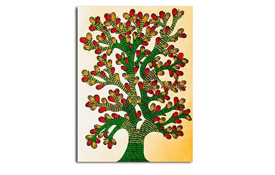 tree - gond art, 16 x 20 inch, shubha shrivastava,16x20inch,canvas,folk art paintings,gond painting.,paintings for living room,paintings for office,paintings for hotel,paintings for living room,paintings for office,paintings for hotel,acrylic color,GAL02221335759