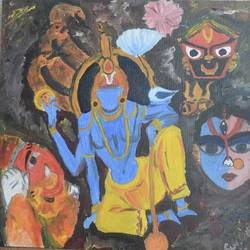god is all but one, 20 x 20 inch, rupsha bose,20x20inch,canvas,paintings,conceptual paintings,ganesha paintings | lord ganesh paintings,paintings for living room,oil color,GAL02334235763