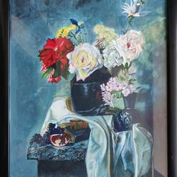 bouquet of flowers, 12 x 17 inch, vaishali  k,12x17inch,cartridge paper,paintings,still life paintings,paintings for dining room,paintings for living room,paintings for bedroom,paintings for office,poster color,GAL02435735765