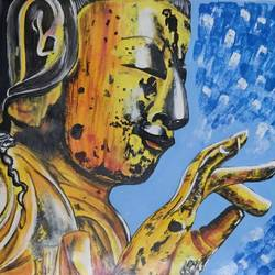 the gold buddha, 11 x 15 inch, vaishali  k,11x15inch,cartridge paper,paintings,buddha paintings,figurative paintings,modern art paintings,religious paintings,paintings for dining room,paintings for living room,paintings for bedroom,paintings for office,paintings for hotel,paintings for school,paintings for hospital,poster color,GAL02435735766