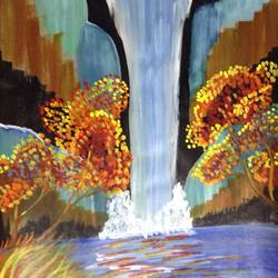 autumn water fall, 16 x 26 inch, shweta pandey,landscape paintings,paintings for living room,thick paper,acrylic color,16x26inch,GAL012403577