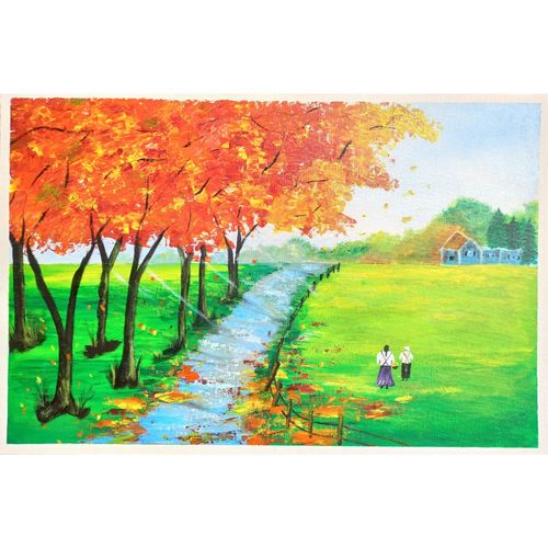 scenery painting on canvas, 16 x 24 inch, nidhi shetty,16x24inch,canvas board,paintings,nature paintings   scenery paintings,paintings for dining room,paintings for living room,paintings for bedroom,paintings for office,paintings for kids room,paintings for hotel,paintings for school,paintings for hospital,acrylic color,GAL02408235775