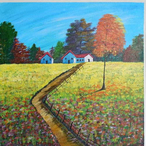 scenery painting on canvas, 24 x 24 inch, nidhi shetty,24x24inch,canvas board,paintings,abstract paintings,paintings for dining room,paintings for living room,paintings for bedroom,paintings for office,paintings for kids room,paintings for hotel,paintings for school,paintings for hospital,acrylic color,GAL02408235776