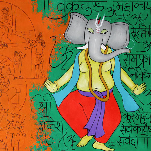 story of ganesha, 33 x 26 inch, chetan katigar,33x26inch,canvas,paintings,abstract paintings,wildlife paintings,figurative paintings,cityscape paintings,landscape paintings,modern art paintings,multi piece paintings,religious paintings,portrait paintings,nature paintings | scenery paintings,art deco paintings,expressionism paintings,impressionist paintings,realism paintings,surrealism paintings,ganesha paintings | lord ganesh paintings,contemporary paintings,realistic paintings,love paintings,elephant paintings,lord shiva paintings,paintings for dining room,paintings for living room,paintings for bedroom,paintings for office,paintings for bathroom,paintings for kids room,paintings for hotel,paintings for kitchen,paintings for school,paintings for hospital,acrylic color,GAL026635780