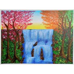 waterfall painting on canvas, 24 x 18 inch, nidhi shetty,24x18inch,canvas board,paintings,landscape paintings,nature paintings | scenery paintings,paintings for dining room,paintings for living room,paintings for bedroom,paintings for office,paintings for bathroom,paintings for kids room,paintings for hotel,paintings for kitchen,paintings for school,paintings for hospital,acrylic color,GAL02408235784