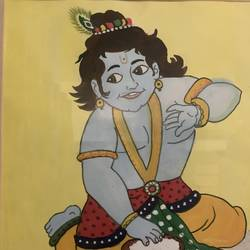 krishna, 9 x 11 inch, manav patel,9x11inch,thick paper,religious paintings,kids paintings,paintings for kids room,paintings for school,paintings for kids room,paintings for school,watercolor,GAL02379335790