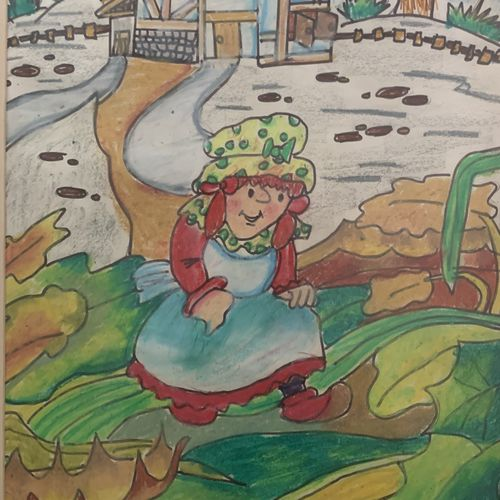 the little red riding hood, 9 x 11 inch, manav patel,9x11inch,thick paper,paintings for kids room,paintings for school,illustration drawings,kids drawings,paintings for kids room,paintings for school,pastel color,GAL02379335791
