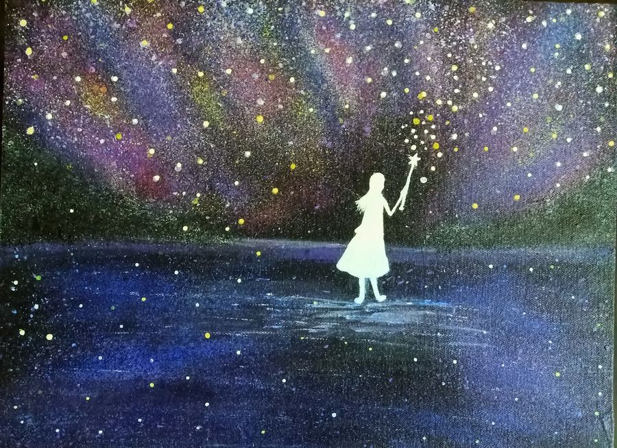 magic wand girl, 16 x 12 inch, mohanjeet baldev kalsi,16x12inch,canvas board,paintings,nature paintings | scenery paintings,surrealism paintings,love paintings,children paintings,kids paintings,paintings for dining room,paintings for living room,paintings for bedroom,paintings for kids room,paintings for school,acrylic color,GAL02278535799