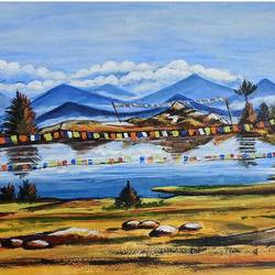 mountain lake, 17 x 12 inch, nilina guha,17x12inch,thick paper,paintings,landscape paintings,nature paintings | scenery paintings,art deco paintings,paintings for dining room,paintings for living room,paintings for bedroom,paintings for office,paintings for kids room,paintings for hotel,paintings for school,paintings for hospital,acrylic color,paper,GAL02203035807