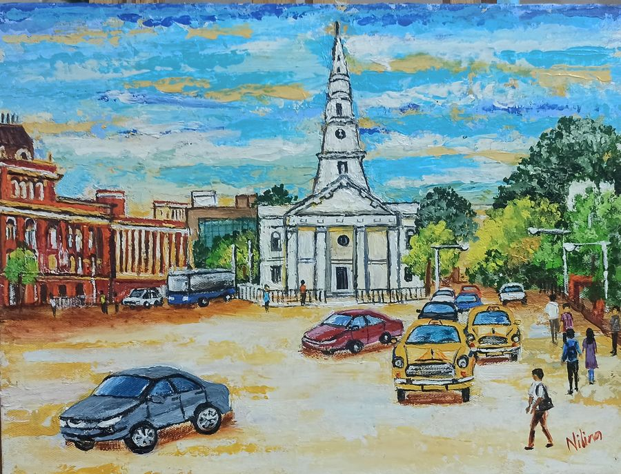 a buzzing junction of a heritage city, 16 x 12 inch, nilina guha,16x12inch,canvas,paintings,figurative paintings,cityscape paintings,art deco paintings,realism paintings,realistic paintings,paintings for dining room,paintings for living room,paintings for bedroom,paintings for office,paintings for kids room,paintings for hotel,paintings for school,paintings for hospital,paintings for dining room,paintings for living room,paintings for bedroom,paintings for office,paintings for kids room,paintings for hotel,paintings for school,paintings for hospital,acrylic color,fabric,GAL02203035809
