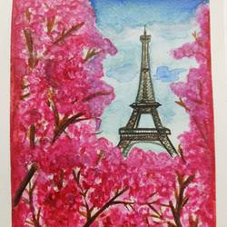 fluer de paris, 15 x 21 inch, shivaani kk,15x21inch,brustro watercolor paper,flower paintings,cityscape paintings,conceptual paintings,nature paintings | scenery paintings,love paintings,paintings for living room,paintings for bedroom,paintings for office,paintings for hotel,paintings for living room,paintings for bedroom,paintings for office,paintings for hotel,watercolor,GAL02442235816