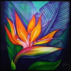 bird of paradise, 24 x 24 inch, pooja nangalia,24x24inch,canvas,paintings,flower paintings,paintings for dining room,paintings for living room,paintings for bedroom,paintings for office,paintings for bathroom,paintings for kids room,paintings for hotel,paintings for kitchen,paintings for school,paintings for hospital,acrylic color,GAL02355435821