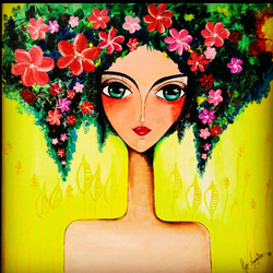 daughter of nature, 24 x 24 inch, pooja nangalia,24x24inch,canvas,figurative paintings,flower paintings,paintings for dining room,paintings for bedroom,paintings for office,paintings for bathroom,paintings for kids room,paintings for hotel,paintings for kitchen,paintings for dining room,paintings for bedroom,paintings for office,paintings for bathroom,paintings for kids room,paintings for hotel,paintings for kitchen,acrylic color,GAL02355435823