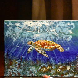 turtle friend, 8 x 10 inch, qayanat haque,8x10inch,canvas board,paintings,animal paintings,miniature painting.,paintings for dining room,paintings for living room,paintings for bedroom,paintings for kids room,acrylic color,GAL02443535832