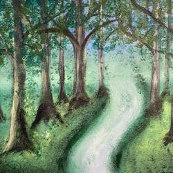 a walk by the woods , 12 x 16 inch, tenzin pema,12x16inch,canvas,paintings,landscape paintings,nature paintings | scenery paintings,paintings for dining room,paintings for living room,paintings for bedroom,paintings for office,paintings for bathroom,paintings for kids room,paintings for hotel,paintings for kitchen,paintings for school,paintings for hospital,acrylic color,GAL02441535842