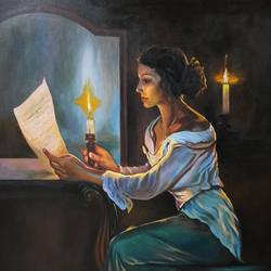 the avaited letter, 24 x 36 inch, nathuram  bendkhale,24x36inch,canvas,paintings,figurative paintings,paintings for living room,paintings for living room,acrylic color,GAL0980635843