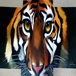 3 piece tiger , 40 x 20 inch, nathuram  bendkhale,40x20inch,canvas,paintings,wildlife paintings,paintings for living room,acrylic color,GAL0980635845