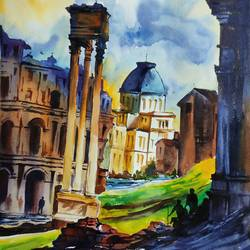 milan, italy, 12 x 17 inch, shankhadeep  mondal,12x17inch,brustro watercolor paper,paintings,cityscape paintings,conceptual paintings,paintings for dining room,paintings for living room,paintings for bedroom,paintings for office,paintings for kids room,paintings for hotel,paintings for kitchen,paintings for school,paintings for hospital,watercolor,GAL01403035856
