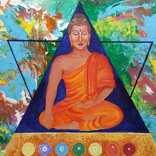 buddha with 7 chakras , 36 x 24 inch, sheetal chaudhary,36x24inch,canvas board,paintings,abstract paintings,buddha paintings,religious paintings,paintings for dining room,paintings for living room,paintings for bedroom,paintings for office,paintings for kids room,paintings for hotel,paintings for kitchen,paintings for school,paintings for hospital,acrylic color,GAL01560335857