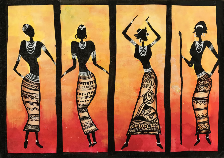 tribal dancers, 12 x 15 inch, harshita savla,abstract paintings,paintings for bedroom,multi piece paintings,paper,acrylic color,12x15inch,GAL013173587
