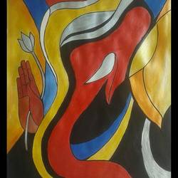 ganpati, 10 x 12 inch, puja nag,modern art paintings,paintings for living room,paper,acrylic color,10x12inch,GAL09193588