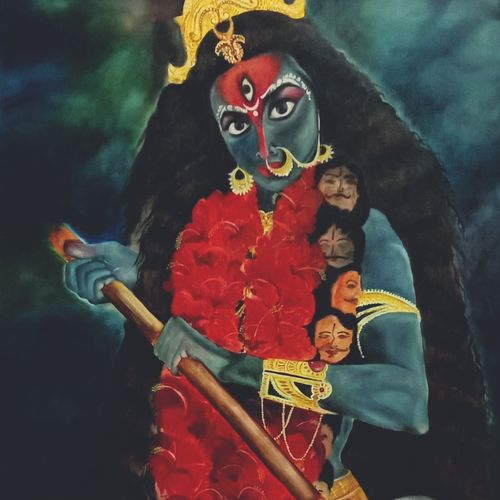 jai mahakali, 26 x 35 inch, ila  singh,26x35inch,canvas,paintings,figurative paintings,flower paintings,landscape paintings,conceptual paintings,religious paintings,still life paintings,portrait paintings,expressionism paintings,illustration paintings,impressionist paintings,photorealism paintings,photorealism,realism paintings,surrealism paintings,realistic paintings,paintings for dining room,paintings for living room,paintings for bedroom,paintings for office,paintings for kids room,paintings for hotel,paintings for school,paintings for hospital,oil color,GAL0795935888