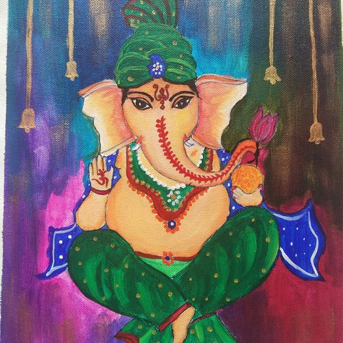 ganesha painting handmade, 11 x 13 inch, vidhya narayanasamy,11x13inch,canvas,paintings,religious paintings,ganesha paintings | lord ganesh paintings,paintings for living room,paintings for office,acrylic color,GAL02450735891