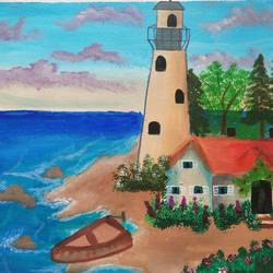 lighthouse beach painting, 16 x 13 inch, vidhya narayanasamy,16x13inch,canvas,paintings,landscape paintings,nature paintings | scenery paintings,paintings for living room,paintings for bedroom,paintings for office,paintings for kids room,paintings for hotel,acrylic color,GAL02450735893