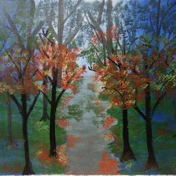 misty forest pathway painting, 13 x 10 inch, vidhya narayanasamy,13x10inch,canvas,paintings,landscape paintings,nature paintings | scenery paintings,paintings for dining room,paintings for living room,paintings for bedroom,paintings for office,paintings for kids room,paintings for hotel,acrylic color,GAL02450735895