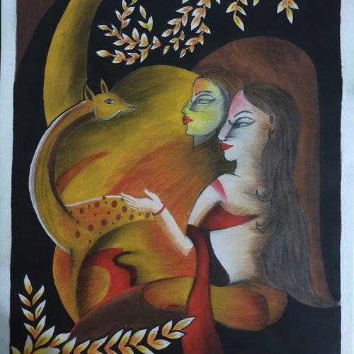 women with a deer, 10 x 14 inch, shweta hemani,10x14inch,cartridge paper,paintings,abstract paintings,figurative paintings,modern art paintings,portrait paintings,abstract expressionism paintings,contemporary paintings,paintings for dining room,paintings for living room,paintings for bedroom,paintings for office,paintings for bathroom,paintings for kids room,paintings for hotel,paintings for kitchen,paintings for school,paintings for hospital,charcoal,pencil color,poster color,paper,GAL02454435905
