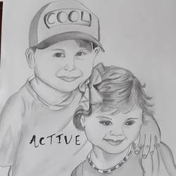 cute brother and sister , 11 x 15 inch, abhilipsa  mahapatra,11x15inch,drawing paper,drawings,portrait drawings,pencil color,GAL02379035915
