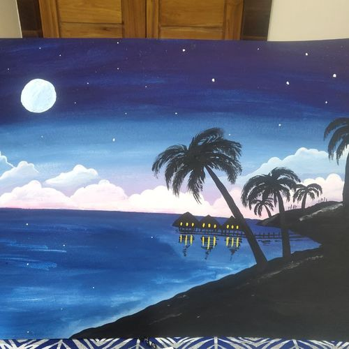 night on the beach, 22 x 30 inch, abhishek paserkar,22x30inch,hardboard,paintings,landscape paintings,paintings for dining room,paintings for living room,paintings for bedroom,paintings for office,paintings for bathroom,paintings for kids room,paintings for hotel,paintings for kitchen,paintings for school,paintings for hospital,poster color,GAL02380835920
