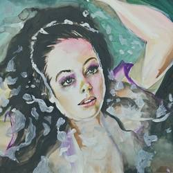 girl in the pond, 30 x 22 inch, aparna pandey,30x22inch,thick paper,paintings,figurative paintings,expressionism paintings,paintings for living room,paintings for bedroom,paintings for bathroom,paintings for hotel,watercolor,paper,GAL02394735923