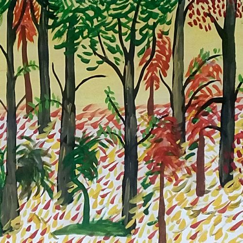 spring time forest, 9 x 11 inch, mrs. kalyani lahon,wildlife paintings,paintings for dining room,paper,poster color,9x11inch,GAL06573593