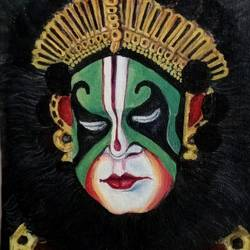 yakshagana, 8 x 18 inch, aravind padmashali,8x18inch,canvas,paintings,figurative paintings,paintings for living room,acrylic color,GAL02455835934