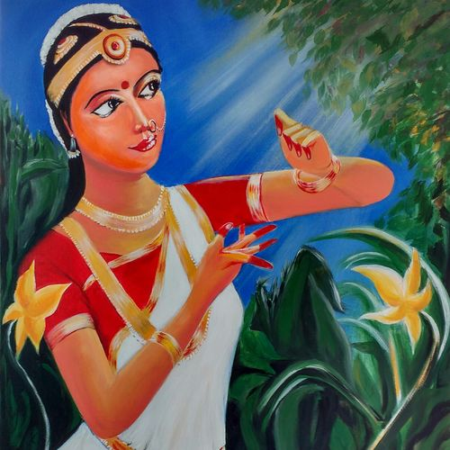 prakriti, 30 x 36 inch, sayantan  ghati ,figurative paintings,paintings for living room,canvas,acrylic color,30x36inch,GAL07703594