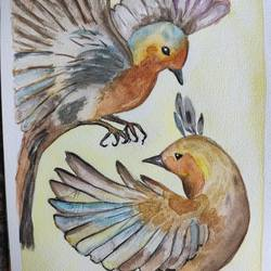 birds, 12 x 9 inch, vaishali  k,12x9inch,renaissance watercolor paper,paintings,wildlife paintings,modern art paintings,conceptual paintings,nature paintings | scenery paintings,paintings for dining room,paintings for living room,paintings for bedroom,paintings for office,paintings for bathroom,paintings for kids room,paintings for hotel,paintings for kitchen,paintings for school,paintings for hospital,watercolor,GAL02435735940