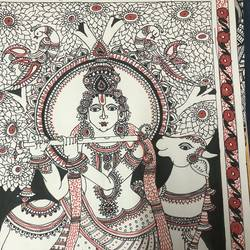 lord krishna , 12 x 16 inch, bhumika desai,12x16inch,thick paper,paintings,madhubani paintings | madhubani art,pen color,GAL02457735941